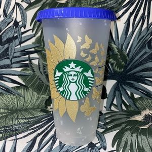Sunflower/Butterflies Starbucks Confetti Tumbler